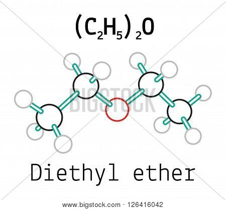 C4H10O diethyl ether 3d molecule isolated on white