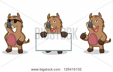 Brown Wild Pig Mascot happy, pose and bring boards