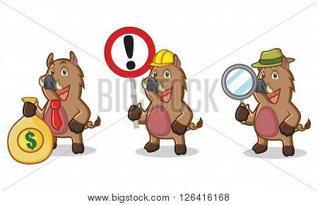 Brown Wild Pig Mascot with money, sign and magnifying