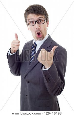 silly business man going thumb up, isolated on white