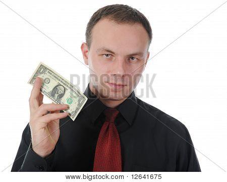 dollar bill into a shirt pocket