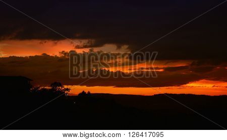 sunset in the city of Braga, in the north of Portugal