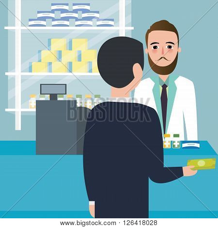 people consumer buying drug in drug-store pharmacy store at counter payment cashier vector