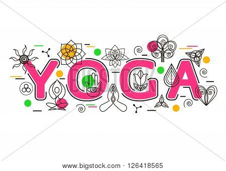 Yoga Banner template for yoga studio, yoga website, header, advertising booklet and poster. Yoga Icons and Design Elements. Yoga Symbol. Flat Style, Thin Line Art Design. Vector Illustration.