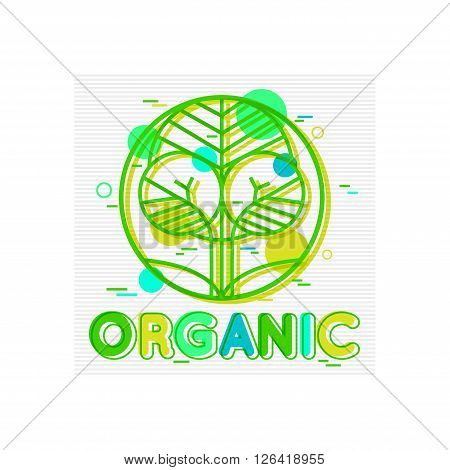 Organic Concept background with abstract tree. Organic Logo. Organic Badge. Organic vector labels. Flat Style. Vector illustrator.