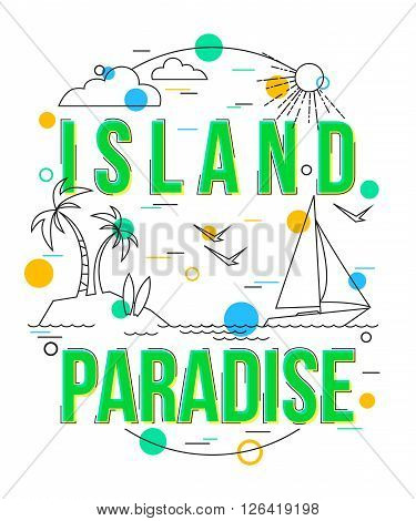 Island Paradise Background with vector icons and elements. Vector Summer Holiday Design with Palm trees, Island, Yacht. Paradise Island Bahamas vector illustrator. Tropical Island icon.