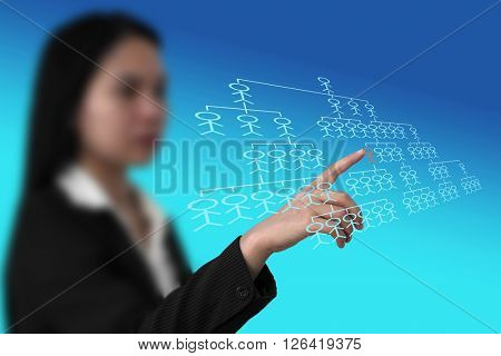asian business woman do organization chart on touch screen interface for build business concept (selective focus on finger)