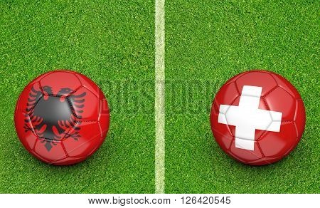 Team balls for Albania vs Switzerland football tournament match, 3D rendering