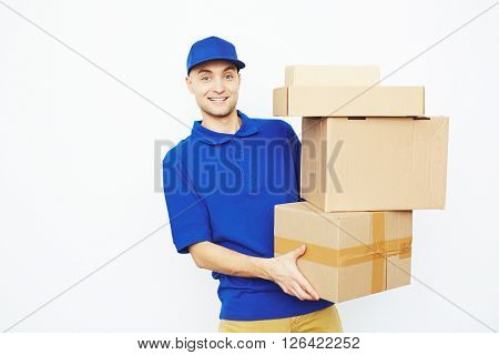 Courier with boxes
