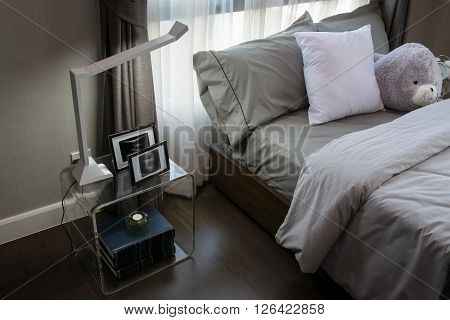 Modern Luxury Bedroom With Pillows And Lamp