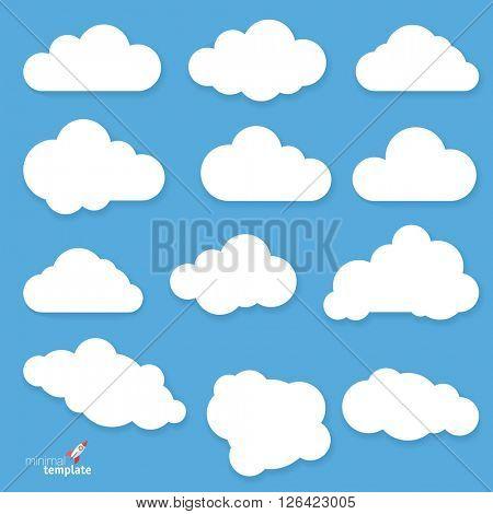 Clouds. Vector flat design elements set.