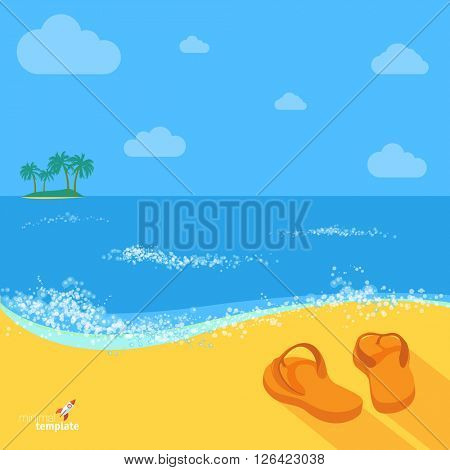 Beach. Flat design vector mock up.