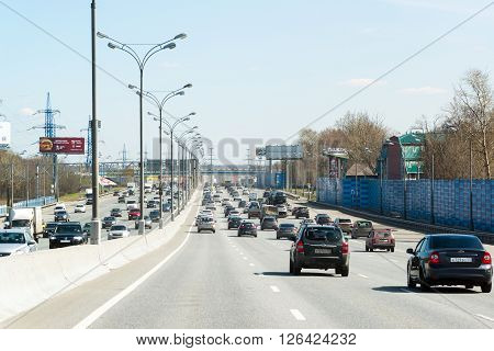 Moscow, Russia - April 08.2016. Moscow Ring Road in  the north