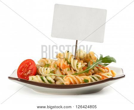 Pasta Radiatore With Tomato Sauce And Sales Tag