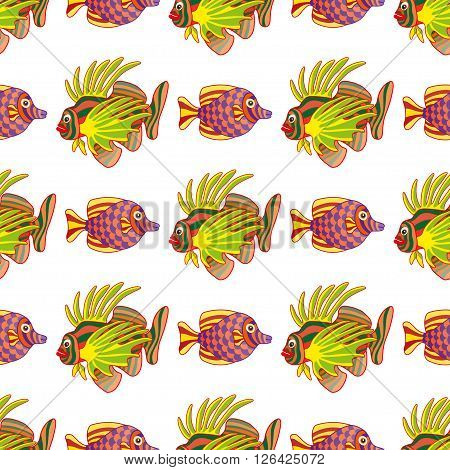 Graphic vector lion fish isolated on white background. Sea and ocean creature in black and white colors. Coloring book page design