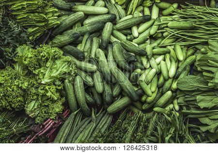 Fresh vegetables for sale on asian market. Pasar Siti Khadijah market, Malaysia