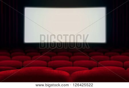 Cinema screen and red seats with blank white screen