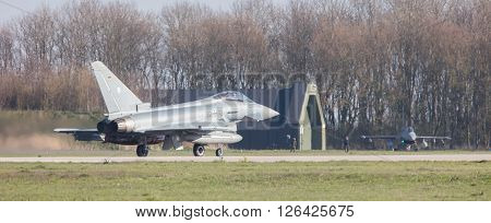 Leeuwarden, Netherlands - April 11, 2016: German Air Force Eurofighter During The Exercise Frisian F