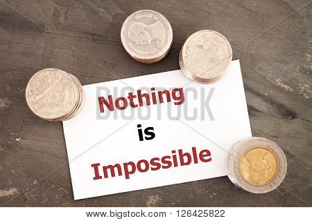 Nothing is impossible inspirational quote, stock photo