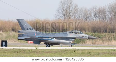 Leeuwarden, Netherlands - April 11, 2016: A Dutch F-16 On The Ground During The Exercise Frisian Fla