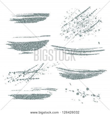 Vector silver paint smears set. Silver glitter element on white background. Silver shiny paint stroke. Abstract silver glitter dust. Silver glittering paint stains.