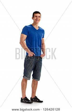 Young man sporty Full body length portrait isolated over white studio background. ** Note: Soft Focus at 100%, best at smaller sizes