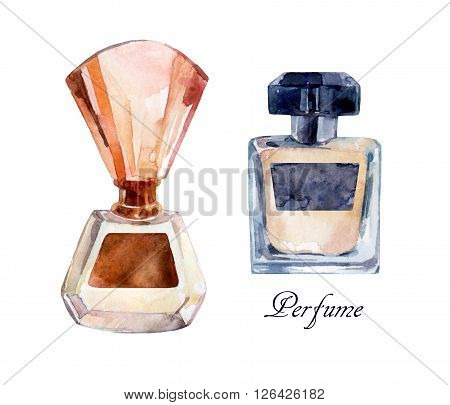 Perfume watercolor illustration. Watercolor classical bottle of perfume. Collection of perfume bottles. Hand painted perfume in classical style.