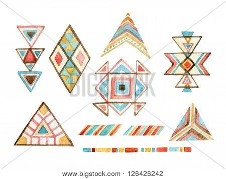 Watercolor tribal elements set for ethnic design. Hand painted aztec illustration. Tribal ornament components isolated on white background