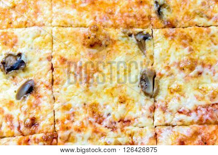 Square Slices Of Big Takeaway Pizza.