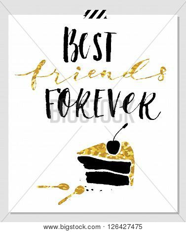 Best friend forever. Hand lettering quote on a white vector background with gold glitter texture