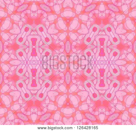 Abstract geometric seamless background. Ellipses pattern in orange, pink and violet shades with mint green and purple elements, extensive and ornate.