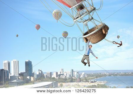 Man travel on aerostat