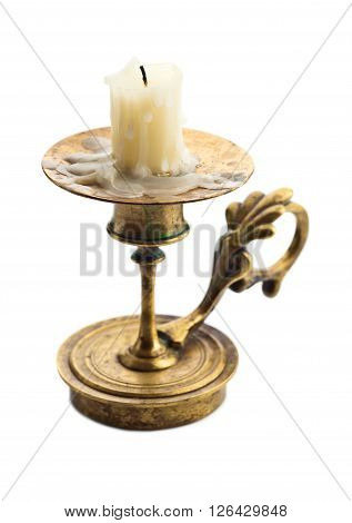 Candlestick With Candle Isolated On White
