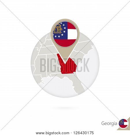 Georgia Us State Map And Flag In Circle. Map Of Georgia, Georgia Flag Pin. Map Of Georgia In The Sty