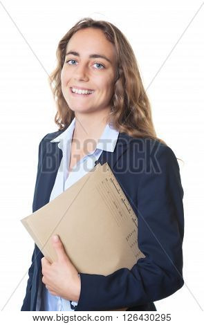 Laughing blond businesswoman with blue eyes and blazer and file on an isolated white background for cut out