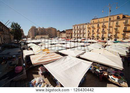 CATANIA ITALY - MARCH 31: View of open market called fera ò Luni on March 31 2016