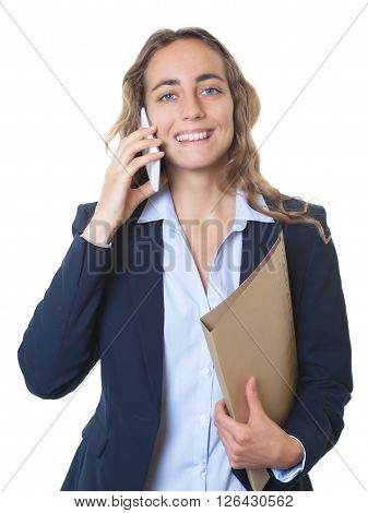 Blond businesswoman with blue eyes and blazer speaking at phone on an isolated white background for cut out