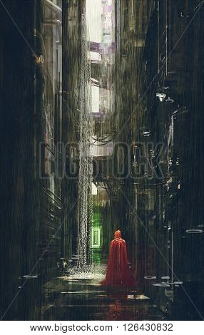 Red Riding Hood in futuristic alley, science fiction scene, illustration