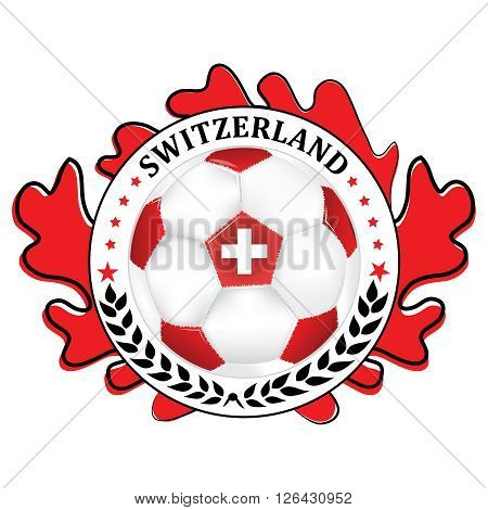 Switzerland 2016 football team sign, containing a soccer ball and the Swiss flag. Print colors used