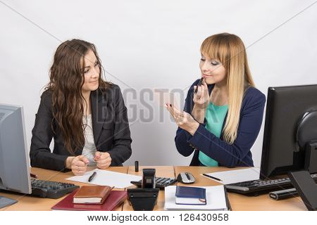 Office Employee Observes As Lipstick Colleague Sitting Beside His Desk