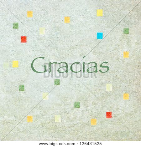 Thank You In Spanish Language - Gracias - Letters On Green Watercolor Paper Texture