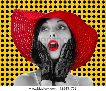 Pin-up woman with red hat and lips on yellow background