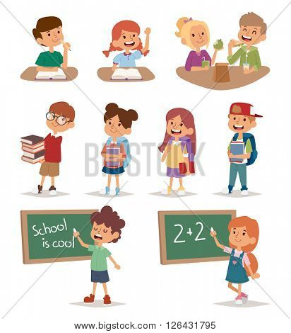 Group school kids going study together, childhood happy primary education character vector.