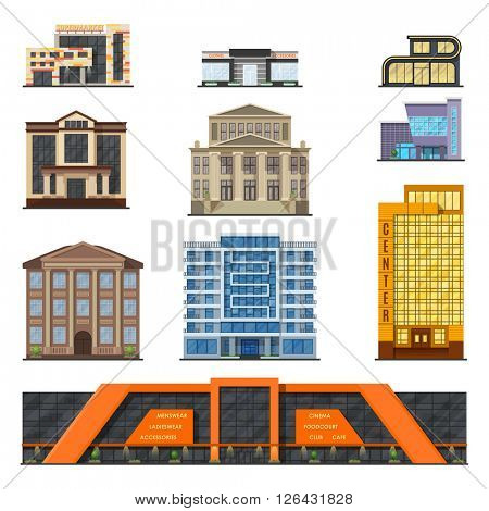 Flat style modern classic municipal buildings front, facade city design vector.