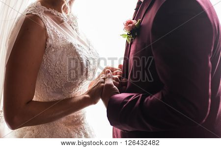 Wedding couple holding hands. Newlyweds couple, wedding day