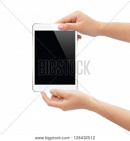 hand holding white tablet isolated on white clipping path inside easy add element