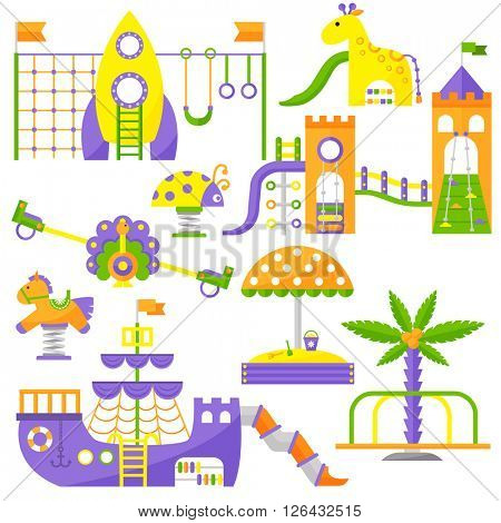 Children playground fun childhood play park activity flat vector illustration.