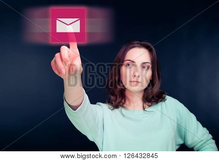 Woman pointing her finger to virtual button