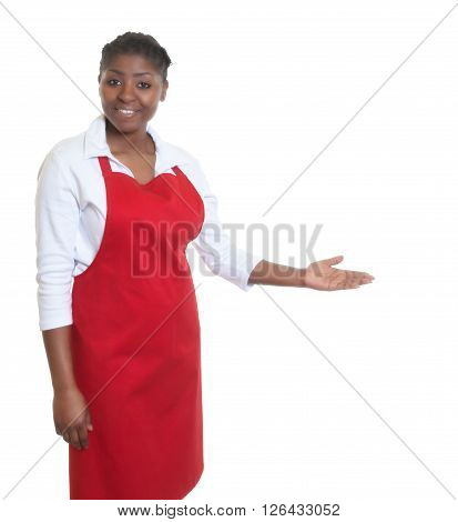 African american waitress inviting guests on an isolated white background for cut out