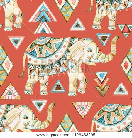 Watercolor indian elephant with tribal ornament elements. Ornate elephant seamless pattern on tribal background in bohemian style. Hand drawn illustration for design in tribal or boho styles